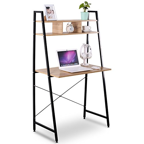 WOLTU 3 Shelves Portable Computer Desk Wood Folding Laptop Table for Home Office Use