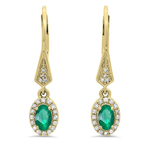 5x3mm Emerald Oval (14K Yellow Gold 5X3 MM Each Oval Emerald & Round White Diamond Ladies Halo Dangling Earrings)