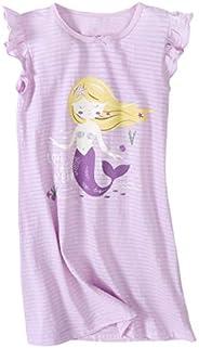 AOSKERA Girls' Mermaid Princess Nightgowns Cotton Sleepwear Short Long Sleeve Rabbit Nightdress 3-14 Y