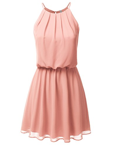 Peaches Elastic - JJ Perfection Women's Sleeveless Double-Layered Pleated Mini Chiffon Dress Peach M