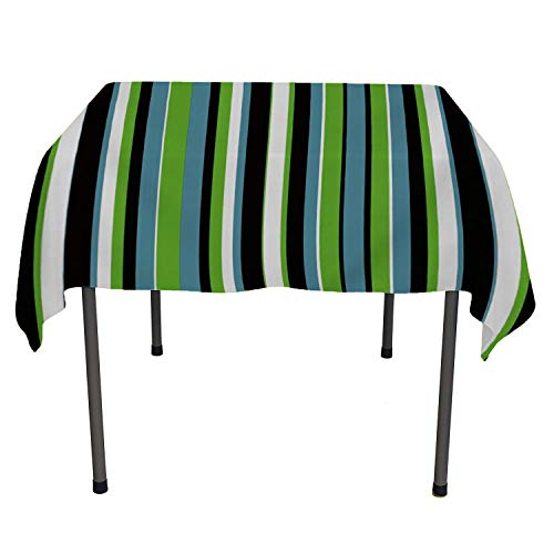Irregular Green Blue White Stripe 9 Table Cloths Spill Proof Polyester tablecloths Square Tablecloth 70 by 70 inch