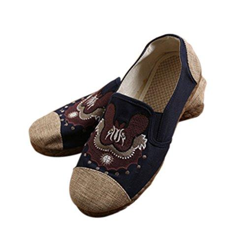 Haodasi Vintage Männer Leinen Baumwolle Flats Hausschuhe Animals Patterns Chinesische Schuhe Sandalen Blau