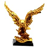 Golden Eagle Sculpture Home Decoration Statue and Figurines, Wildlife Bird Gifts Art Spreading Wings for Success - by Crystal Collection