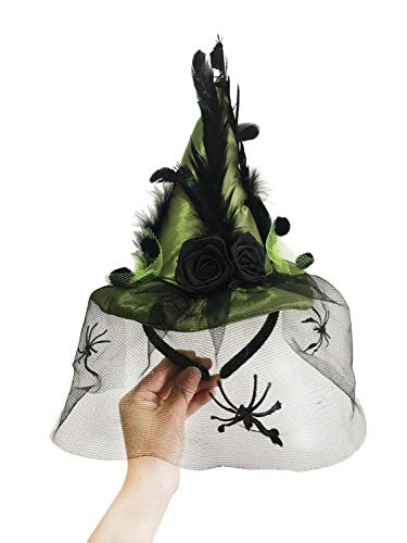 Witch Black Hat Ultimate - JIAJU Women's Witch Hat Mini Witch Feathers Hat Girl boy Kid Cosplay Costumes Halloween Spider Headband (Green)
