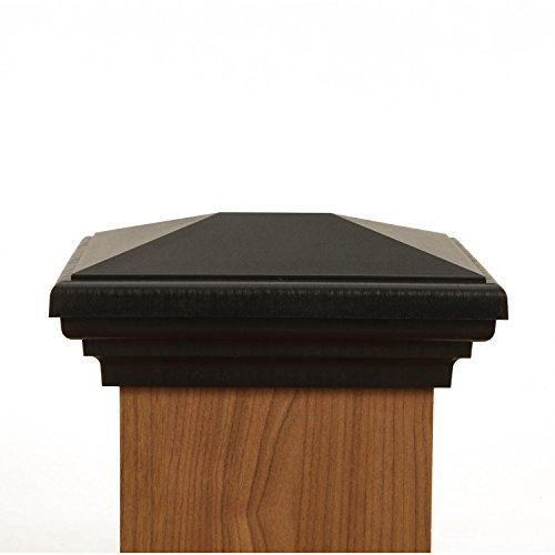 4x6 Post Cap | Black New England Pyramid Style Square Top for Outdoor Fences, Mailboxes & Decks, by Atlanta Post Caps