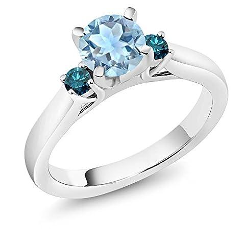 0.95 Ct Round Sky Blue Aquamarine Blue Diamond 925 Sterling Silver 3-Stone Ring - Sterling Silver Diamond Antique Ring