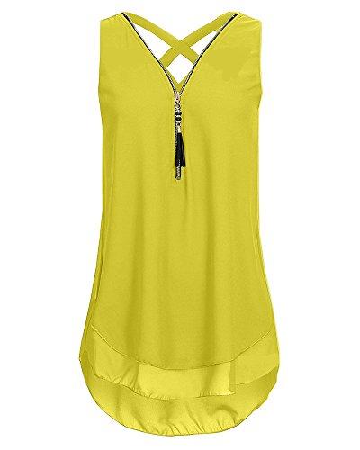 sans Pure Gilet Taille Grande Camisole Jaune Manches Col Chemises T clair Fermeture Femme Chemisier V Shirt Tops 70wBT5WqqP