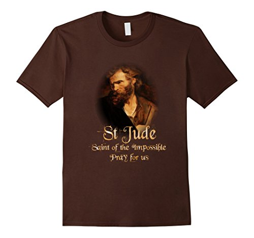Mens St Jude Patron Saint of the Impossible Catholic T-Shirt Small Brown