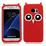 EarthNanLiuPowerTu Samsung Galaxy S7 Edge Case, 3D Design TPU Soft Silicone Gel Case with Cute Owl Pattern Skin Case Cover for Samsung Galaxy S7 Edge - Red