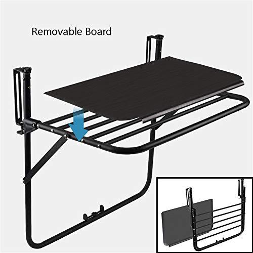 Multifuncion cubierta colgando Barandilla para Balcon Patio mesa para servir con el tablero desmontable Cafe Mesa de comedor Side,Negro,B