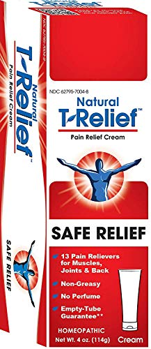 T-Relief Pain Relief Cream Homeopathic Formula with Arnica - Topical Ointment to Soothe Minor Joint, Back and Muscular Pain - 4 Ounce