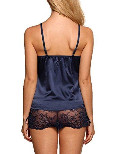 da Pizzo amp; Due XXL Blu Cotone In Donna Pezzi Sexy Scuro Modfine Camicie Taglie Notte S F5HqBw