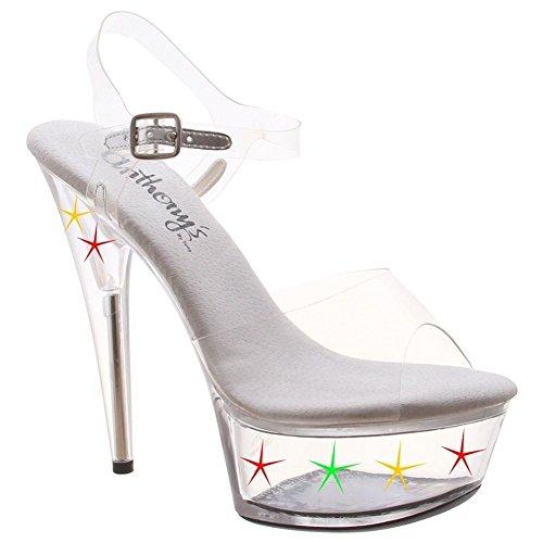 Sandalo Con Cinturino Alla Caviglia A 6 Poli Con Zeppa Esagonale A-600 L. Trasparente / Trasparente
