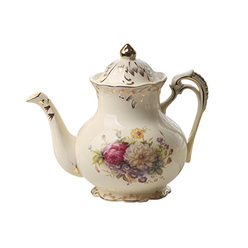 Vintage Porcelain Ceramic (Flowering Shrubs Image Ivory Ceramic Tea Pot,Floral Vintage Teapot,29oz)