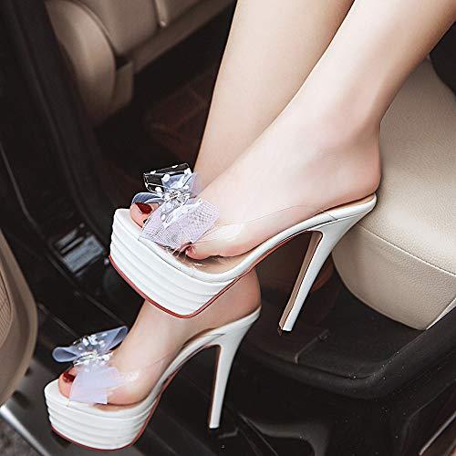 Fiocco Il Bianco Donna Moda Aicciaizzi Alti Scarpe Piede Aprire Piattaforma Tacchi z6tvvq