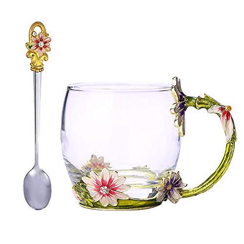 - ACOOME Creative Decoration Daisy Enamel Flower Crystal Clear Glass Coffee Tea Water Milk Mug,Perfect Gift for Women Grandma Mom (10oz)