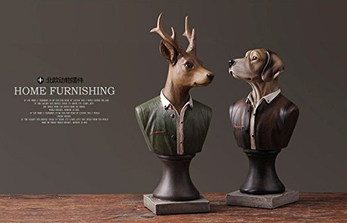 And study the living room resin retro simulation animal model room head ( Size : A deer )