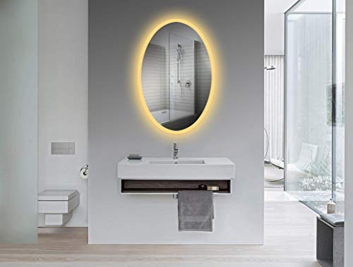 Yukon Oval Wall Mounted Backlit LED Bathroom Mirror, Dual Colored LED Cool -