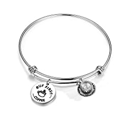 """WUSUANED Coffee Addict Bracelet But First Coffee Jewelry Gift for Barista Coffee LoverThe bracelet is made of stainless steel, engraved with """"BUT FIRST...COFFEE"""".A great gift for a coffee lover, barista or that close friend that you always ha..."""