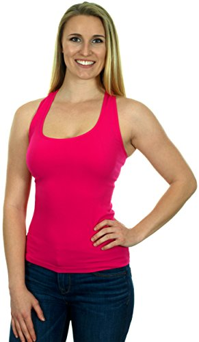 Womens Ribbed Poly-Spandex Racer Back Tank Top in 6 Great Fashion Colors (Fuchsia)