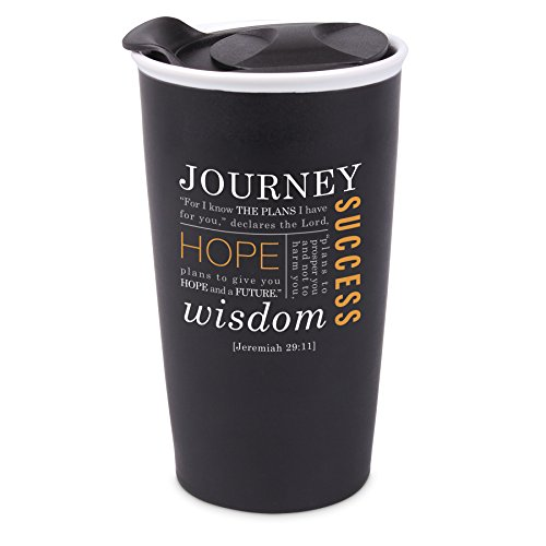 Lighthouse Christian Products Journey Ceramic Tumbler Mug, Black