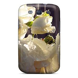 Fashionable AempUpE3971BPMbe Galaxy S3 Case Cover For Wet White Roses Flower Protective Case