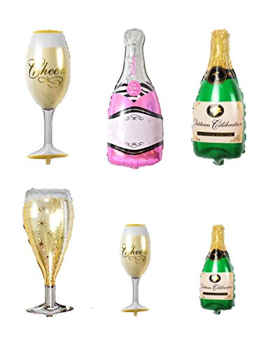 PRALB 6PCS Happy Birthday Party Aluminum Film Mylar Champagne Bottle And Goblet Helium Balloons For Bridal Wedding Celebration Birthday party decoration supplies. -