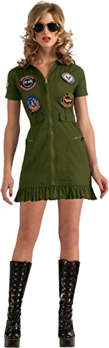 (Secret Wishes US Navy Top Gun Flight Dress, Green Khaki,)