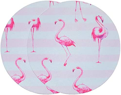 SOUBUN 2 Pack Mouse Pad, Round Mouse Mat, Cute Mouse Pad with Design, Non-Slip Rubber Base Mousepad, Waterproof Office Mouse Pad, Small Size 7.9 x 7.9 x 0.12 Inch (Pink Flamingo)