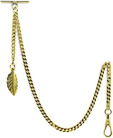Gold Albert Chain Pocket Watch Curb Link Chain Fob T Bar + Swivel Clip + Gold Leave Fob AC62