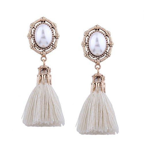 Price comparison product image Bohemian Brincos De Festa Pearl Drop Tassel Earrings For Women Boucle D'oreille Femme Jewelry Boho Vintage Earrings White