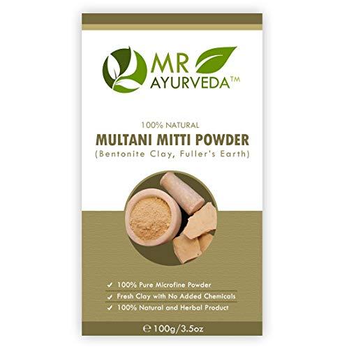 MR Ayurveda 100% Organic Multani Mitti Powder | Bentonite Clay | Fuller's Earth Powder | Complete Skin Care (100 Grams)