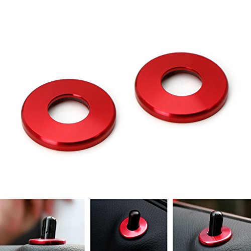 iJDMTOY 2pcs Red Aluminum Decorative Door Lock Knob Covers For Mercedes C E S GLC GLE Class (W205 W213 X 205 W166)