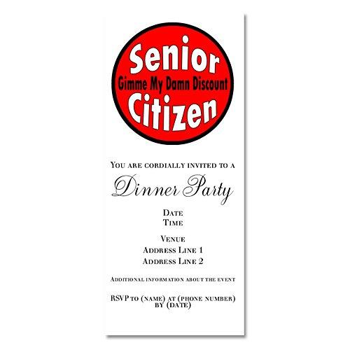CafePress - Senior Citizen Discount - Invitations (Retired Damn Discount)