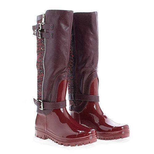 Toe Round Knee Pvc Zip Sole Tweed Raining Boots High Wine Up Lug EqEFr5PW