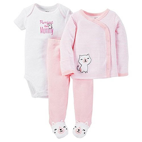 Carters Just One You Baby Girls 3 Piece Striped Bodysuit Set