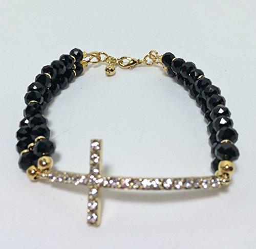 Curved Crystal Cross 2 Strand Black Faceted Bracelet 7.25 (Crystal Strand Cross)