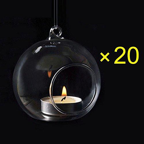 Crystal Glass Hanging Candle Holder Plant Terrarium Candlestick Holder Romantic Home Wedding Dinner Decor (Orb Shape1/Diameter 8CM (20PCS))