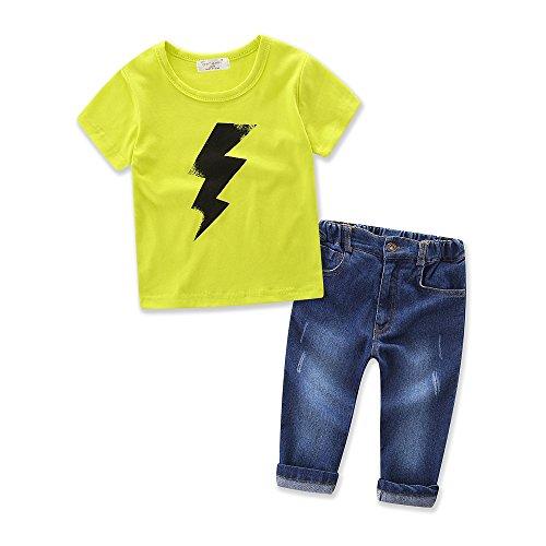 Los niños verano playera de algodón Lightning Jeans Pantalones largos Set 2pcs bebé ropa, Amarillo