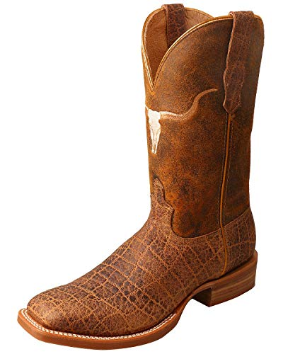 (Twisted X Men's Rancher Elephant Print Cowboy Boot Square Toe Brown 10)