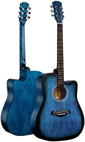 Baeoy 41 Inch Basswood Guitar Blue Acoustic Guitar Beginners Practicing Musical Instruments Full Solid Wood Acoustic Guitar for Beginner Students Children Adult Music Lovers