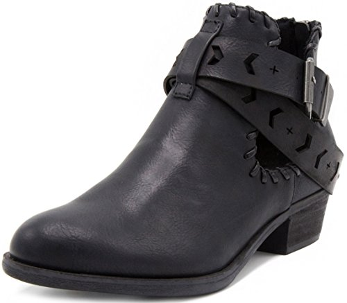 Rampage Women's Tiara Ankle Boot Bootie with Cutout Wraparounds and Woven Open Ankle with Whipstitch with Whipstitch 6 Black