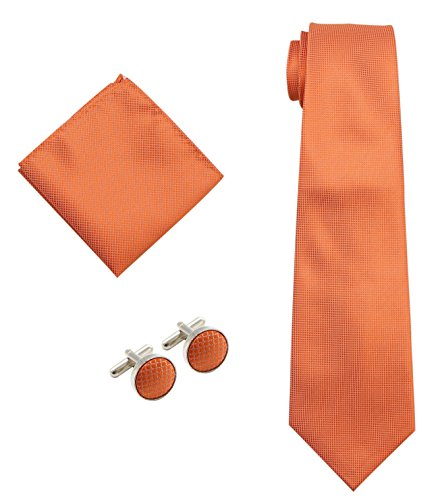 Bioterti Men's 3-Piece Necktie Set:Necktie+Pocket Square+Pair Of Cufflinks (Orange) (Pair Cufflinks Square)