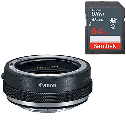 Canon Control Ring Mount Adapter EF-EOS R with Sandisk 64GB Ultra SDXC Memory for Canon EOS R & RP Mirrorless DSLR Camera