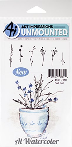 Art Impressions WC4963 Watercolor Cling Rubber Stamps, Fall