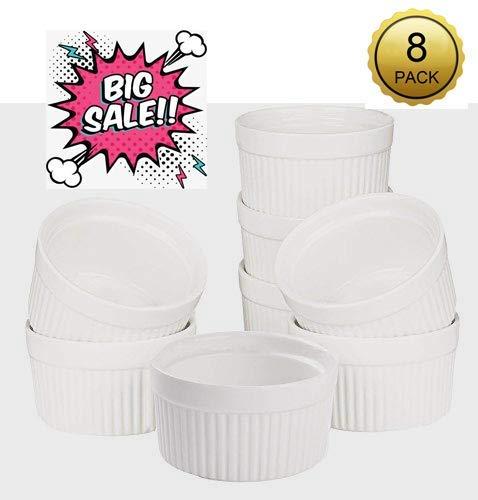 - Accguan Set of 8 PCS 6 oz Round Porcelain Oven Safe Ramekin Dessert Souffle Baking Dish(3.5 INCHES) (White)