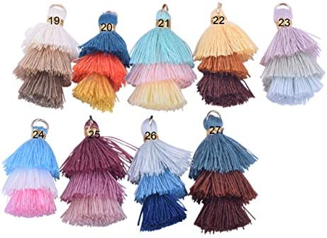 3.5cm Clothing Tiny Tri-Layered Tassels with Gold Jump Ring for Jewelry Making KONMAY 10pcs 1.4