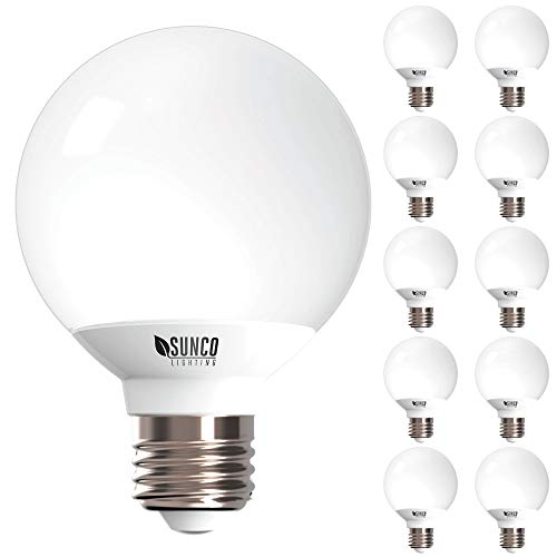 (Sunco Lighting 10 Pack G25 LED Globe, 6W=40W, Dimmable, 450 LM, 5000K Daylight, E26 Base, Ideal for Bathroom Vanity or Mirror - UL & Energy Star)