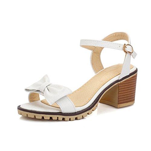 tacón nuevas femeninas zapatos cómodo sandalias de pez cola gruesas de Nuevas sandalias respirables con sandalias Silver arco ZHZNVX femeninas Z76gx0