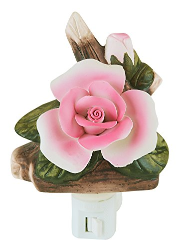 Night Light - Decorative Rose Nightlight, Fixture for Bedroom, Bathroom, or Home Decor by The Paragon